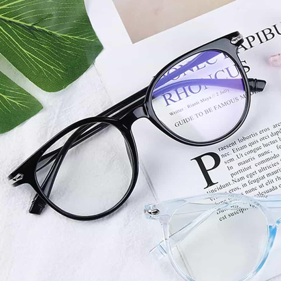 Eyeglass frames in a store